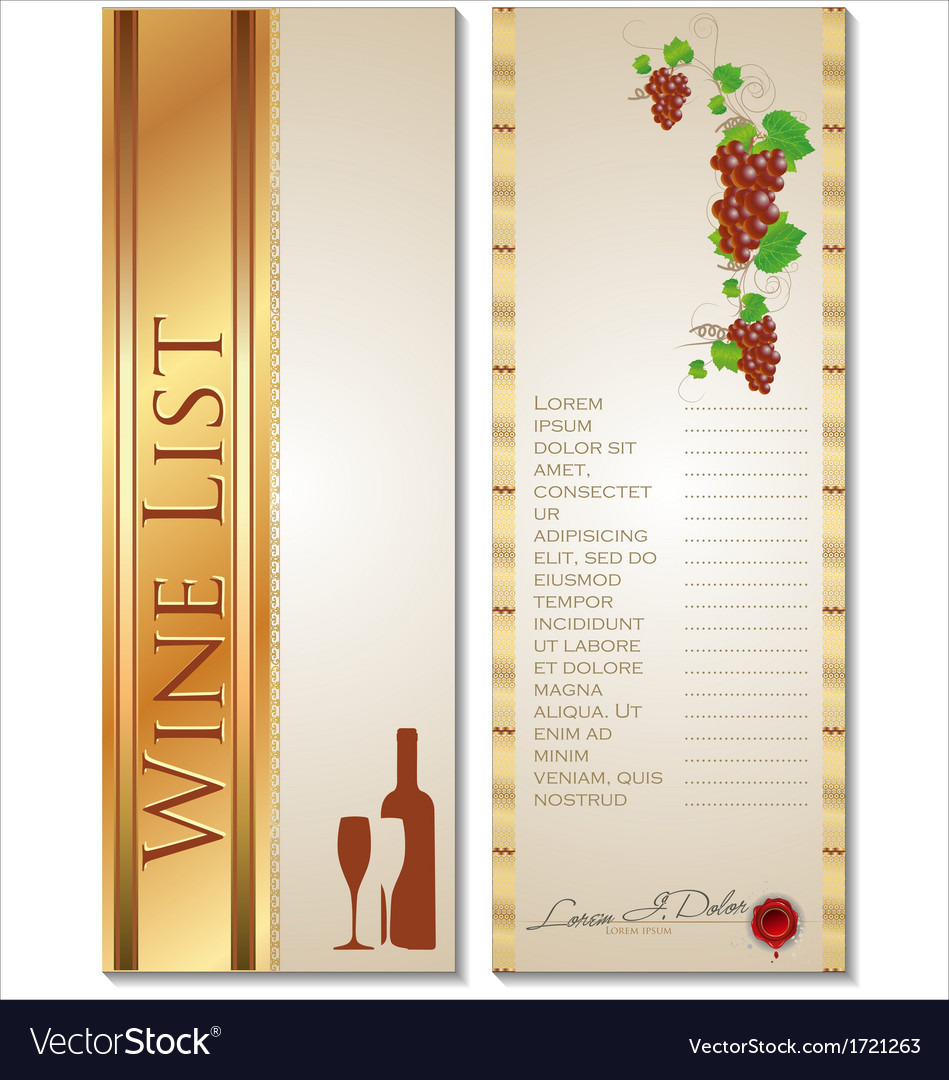 Wine list template Royalty Free Vector Image VectorStock – Free Wine List Template