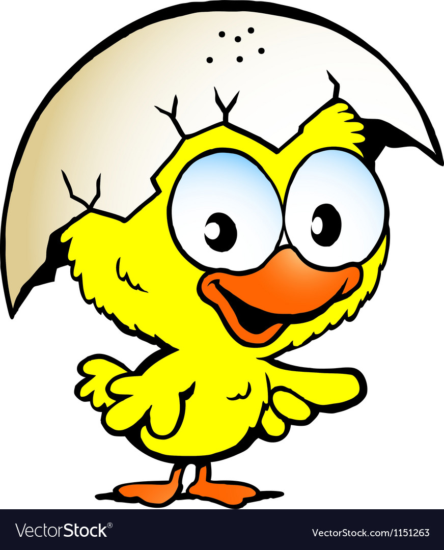 Hand-drawn of an cute baby chicken vector image