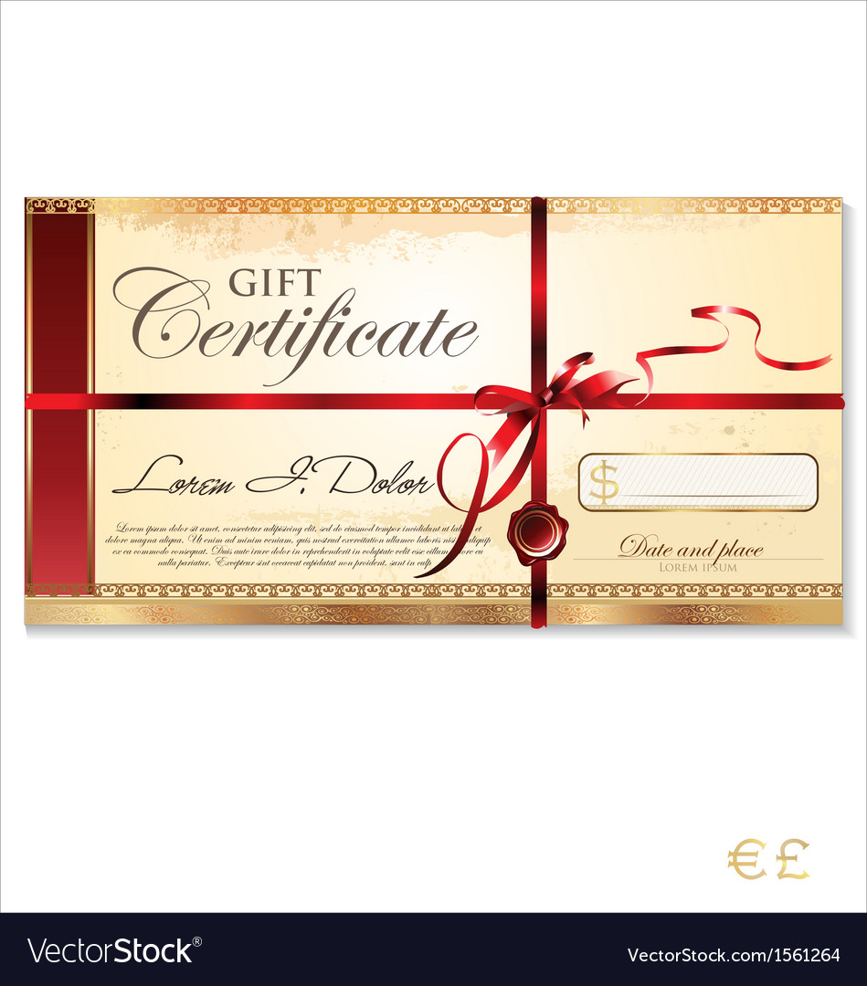 gift certificate template vector image by totallyout image gift certificate template vector image