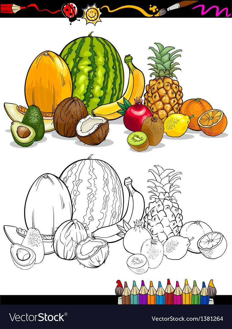 Tropical Fruits Group For Coloring Book Vector Image