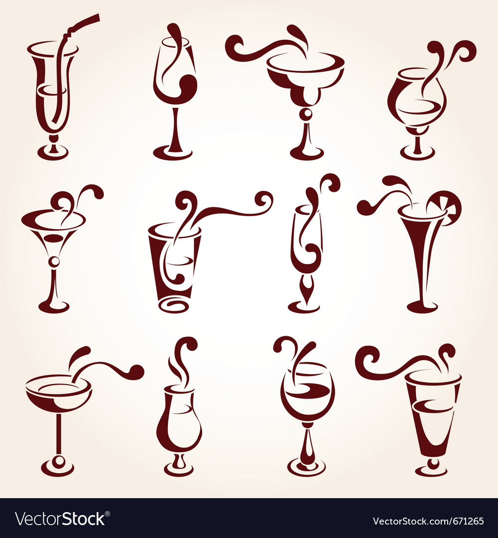 Drink design elements vector image