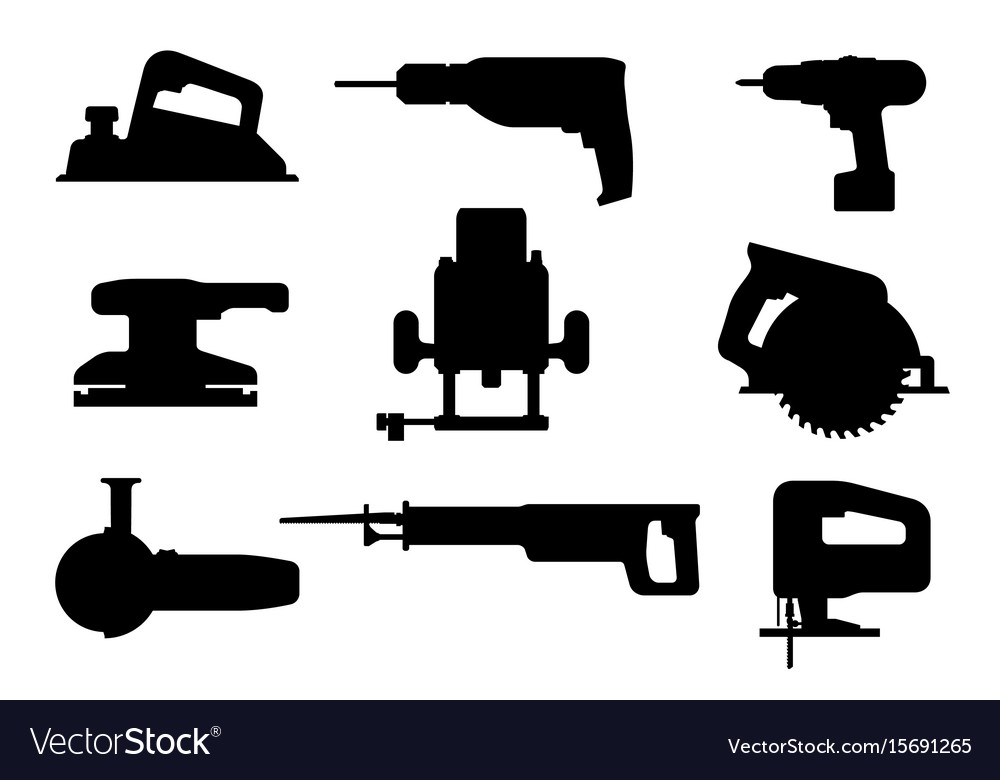 Electric tools black silhouettes vector image