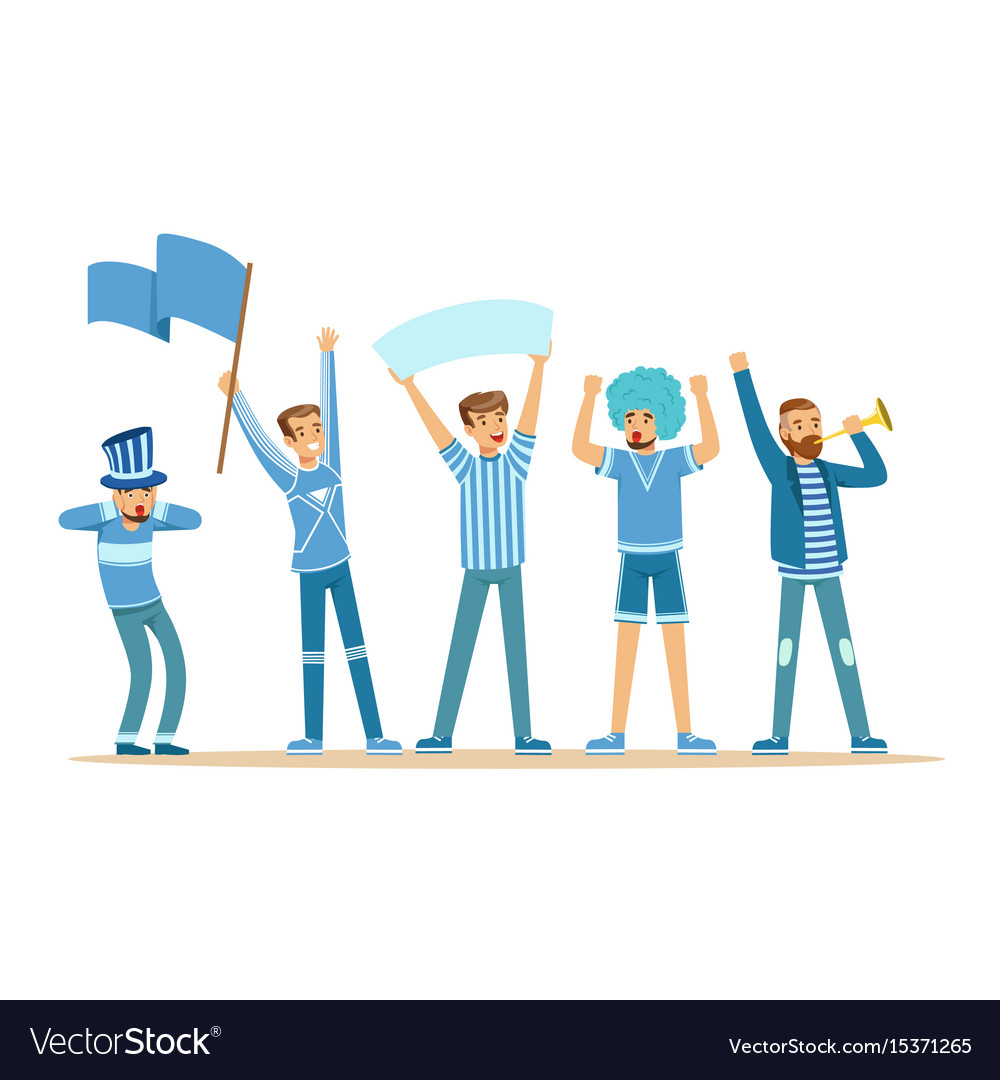 Group of sport fans in blue outfit supporting vector image