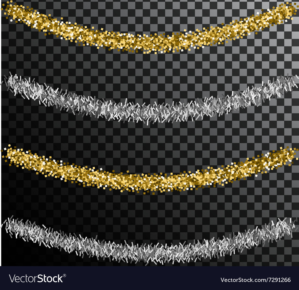 Christmas tree tinsel Gold and silver decoration vector image