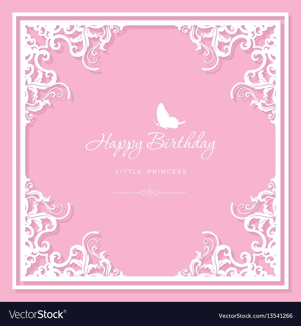 Elegant decorative frame birthday greeting card vector image