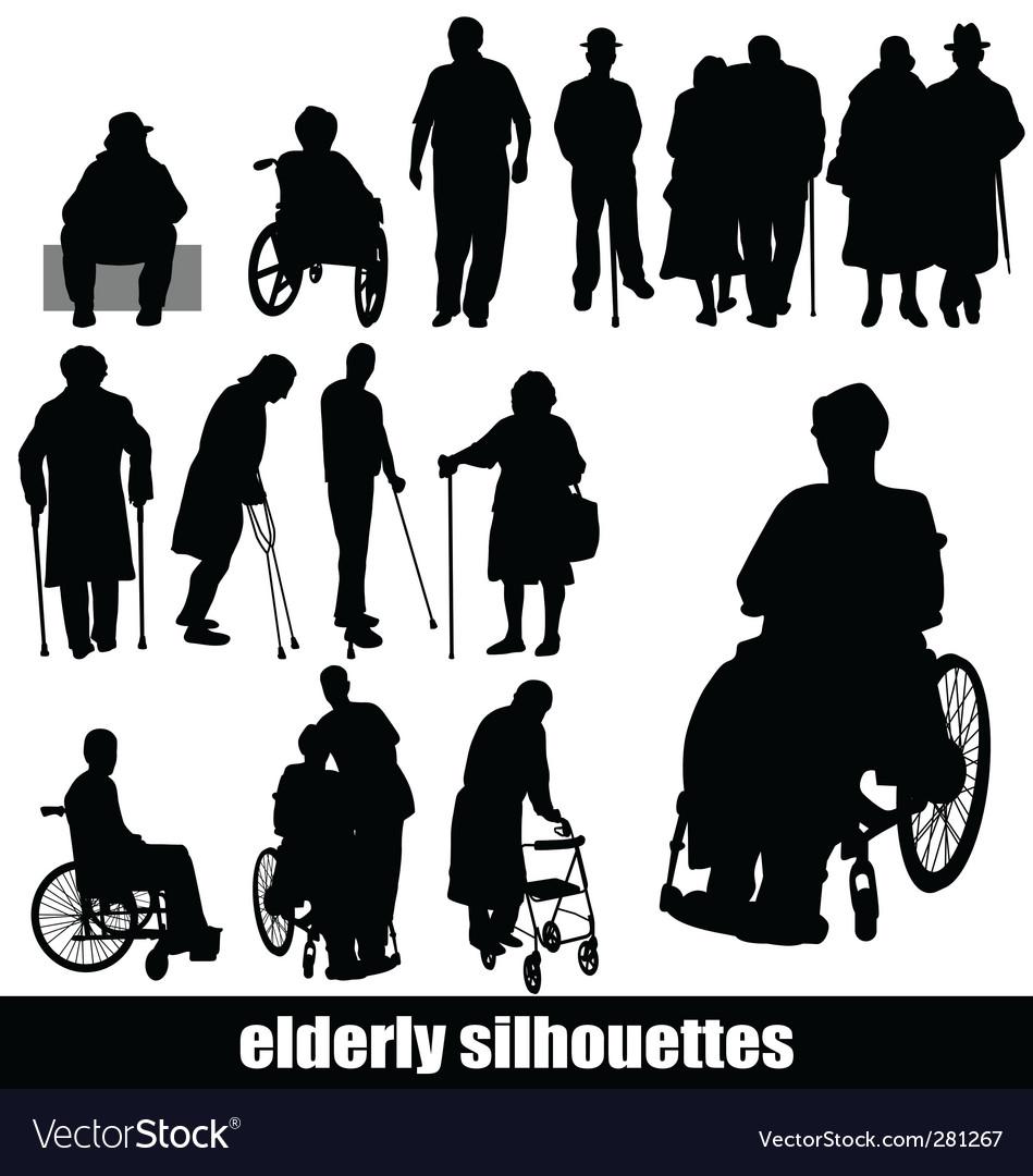 Elderly silhouettes vector image