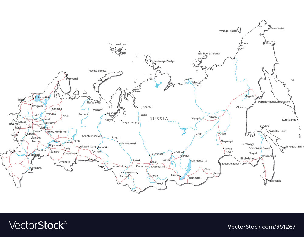 Russia Kemerovo Map%0A Russia Black White Map vector image