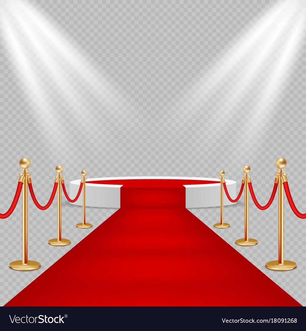 White round podium with red carpet vector image