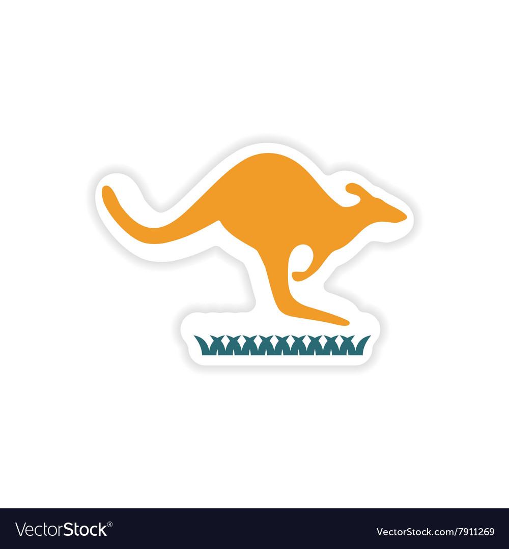 Paper sticker Australian kangaroo on white