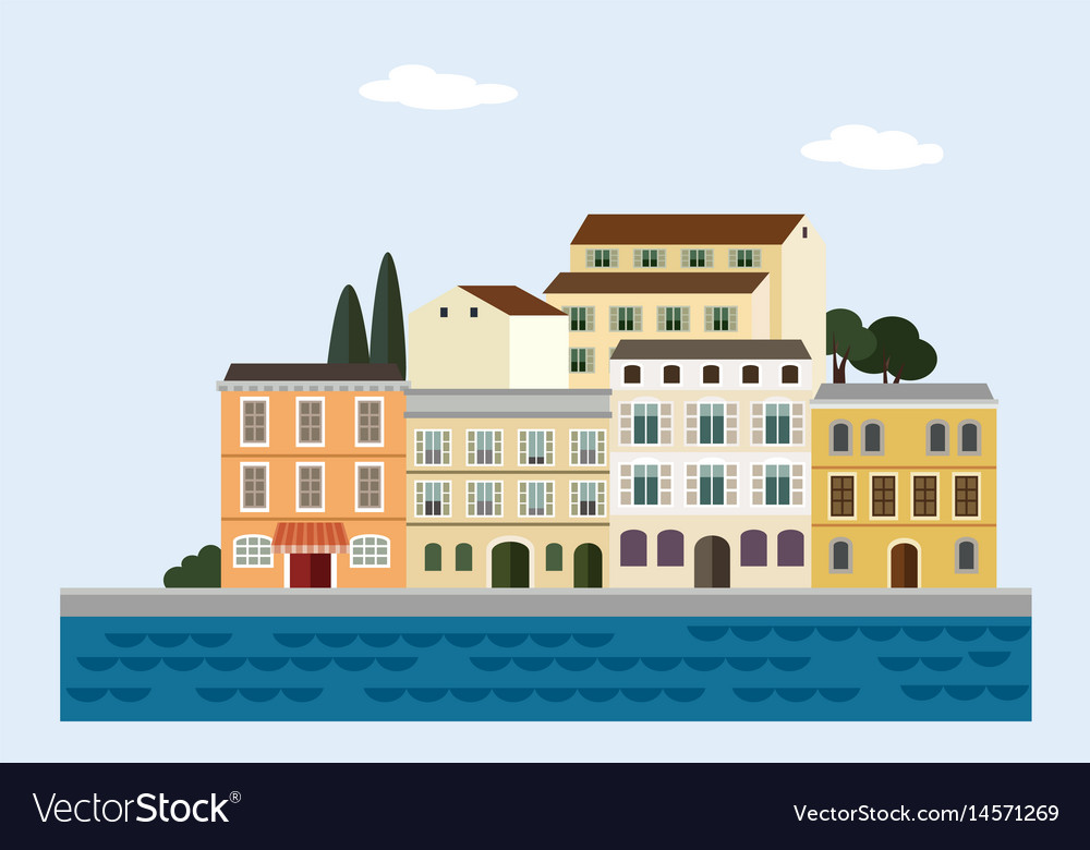 Mediterranean landscape by sea italian or vector image