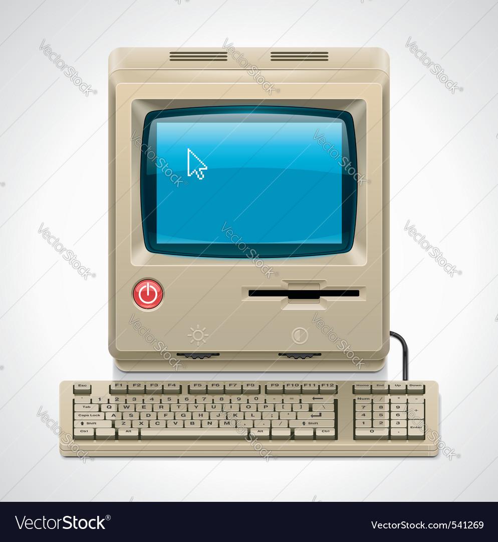 Vector retro computer xxl icon vector image