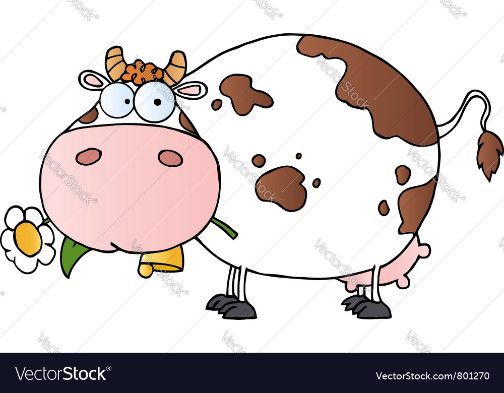 Cartoon Character Cow Different Color White Vector Image Cow Color