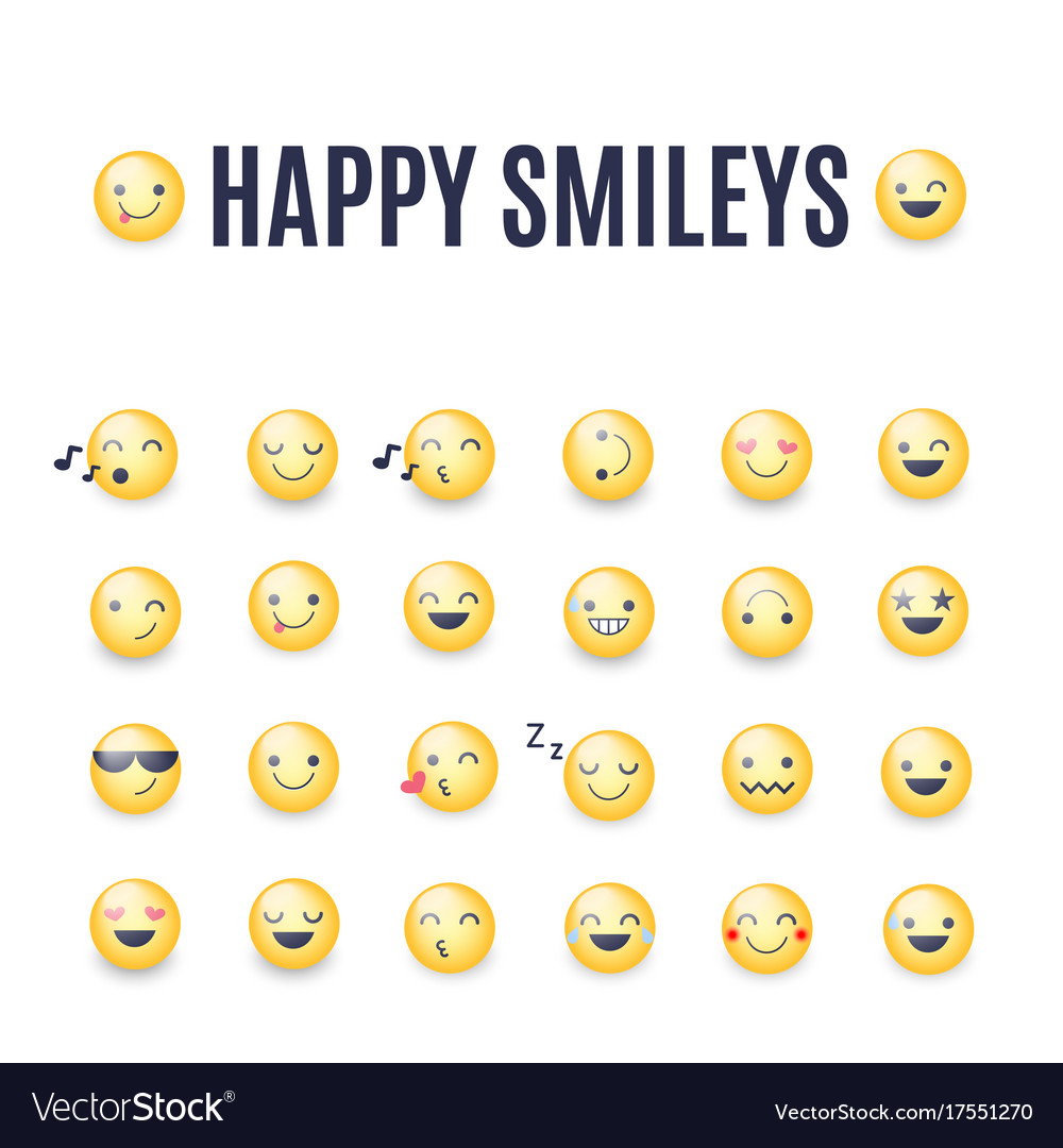 Happy smileys icon set emoticons royalty free vector image happy smileys icon set emoticons vector image biocorpaavc Images