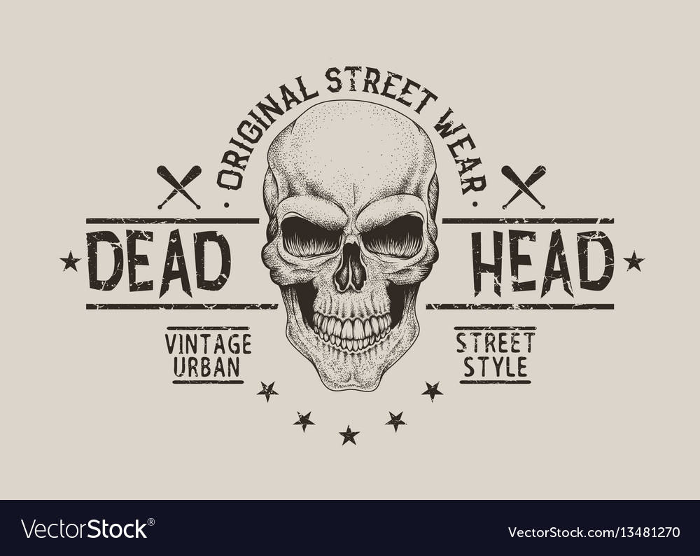 Street style old label with skull for t-shirt vector image