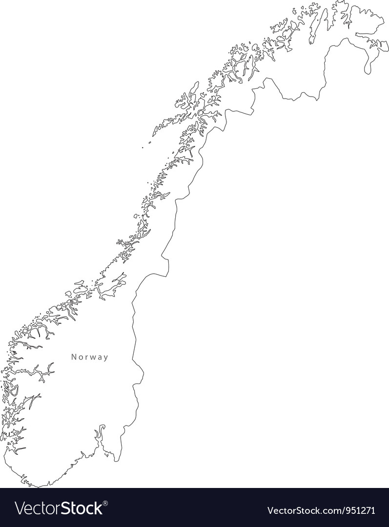 Black White Norway Outline Map Royalty Free Vector Image - Norway map outline