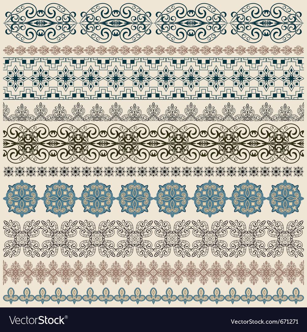 Seamless vintage border patterns vector image