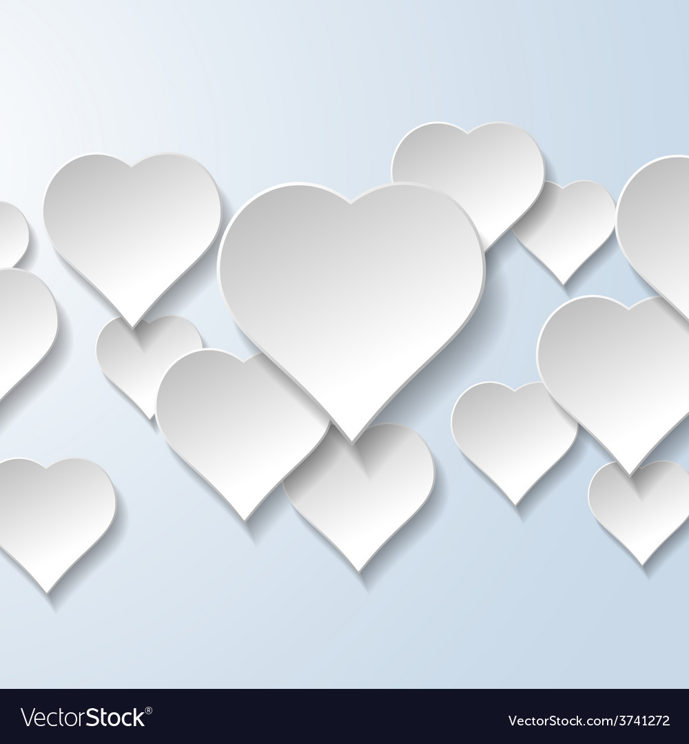 Abstract flying hearts on light blue background vector image