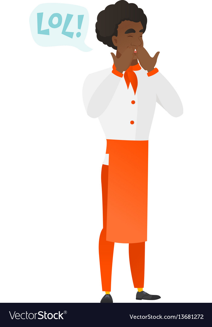 Chef cook in uniform laughing out loud vector image