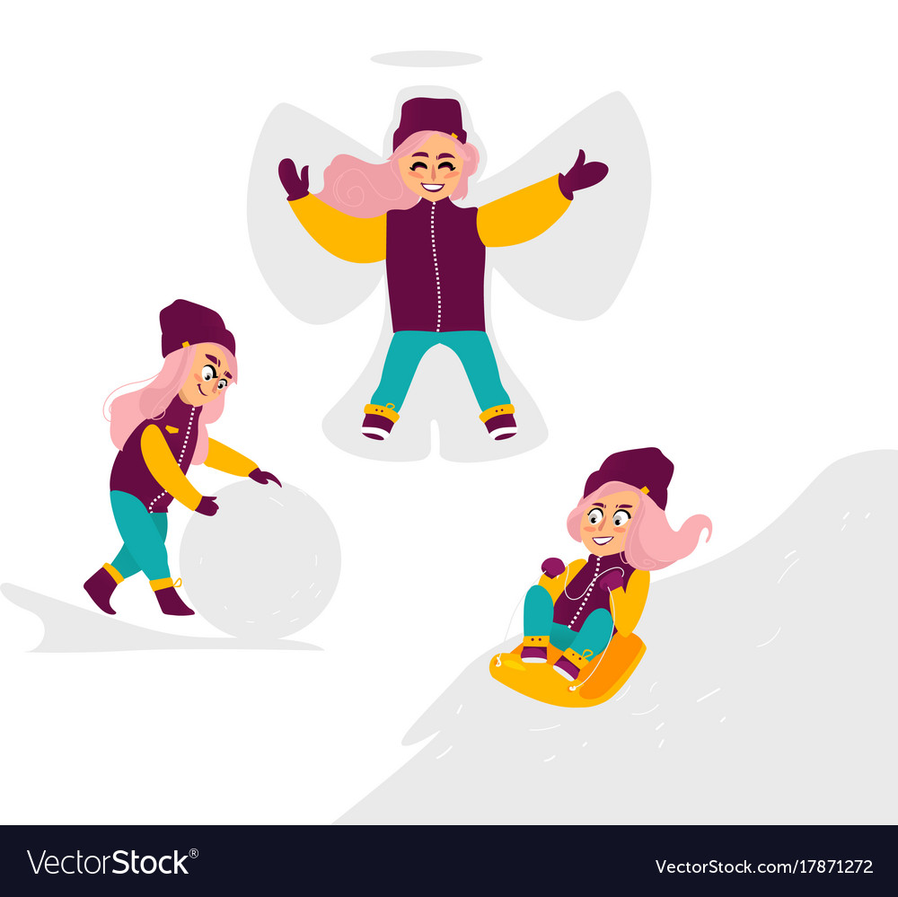kids having fun outdoors in winter set vector image - Kids Fun Pictures