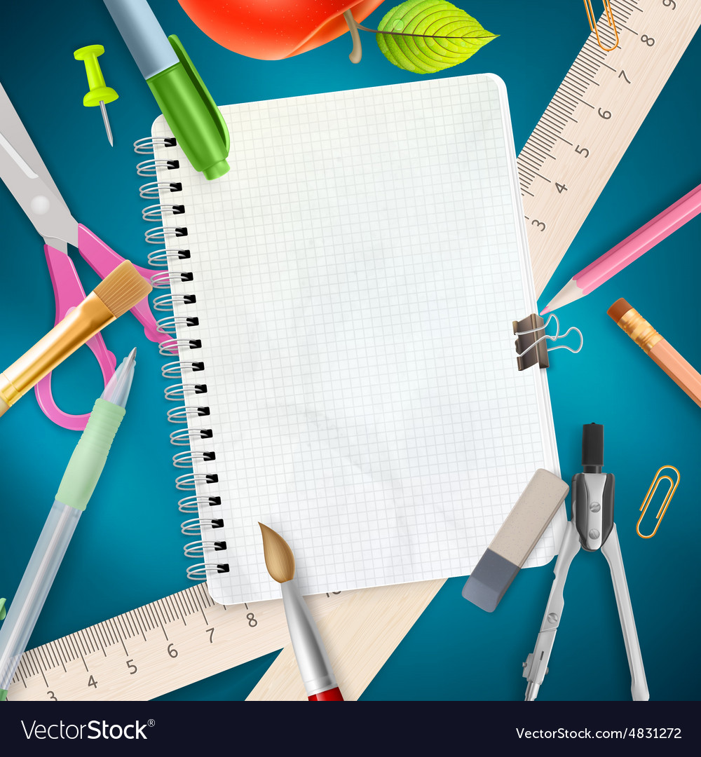 School office supplies on blue background EPS 10 Vector Image