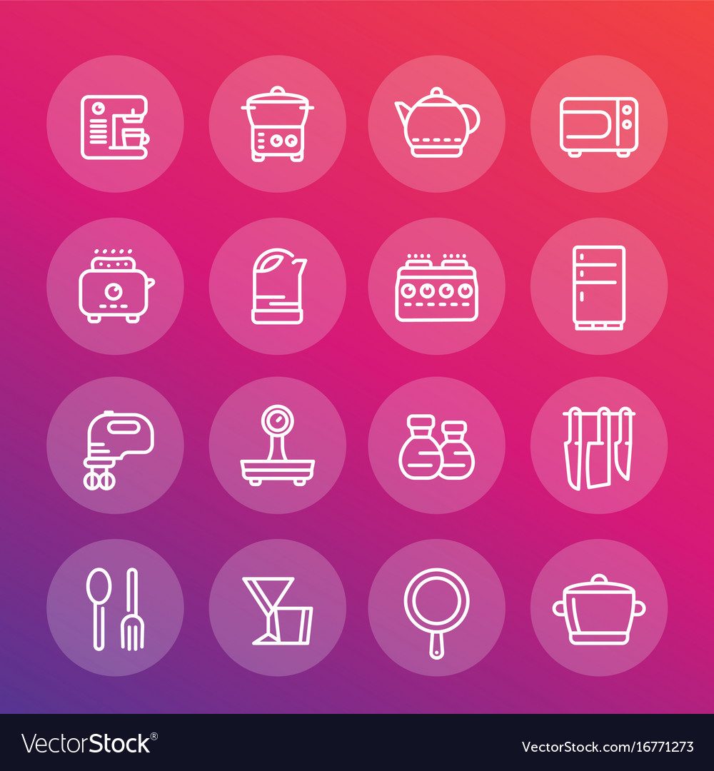 Kitchen line icons set cooking related objects vector image