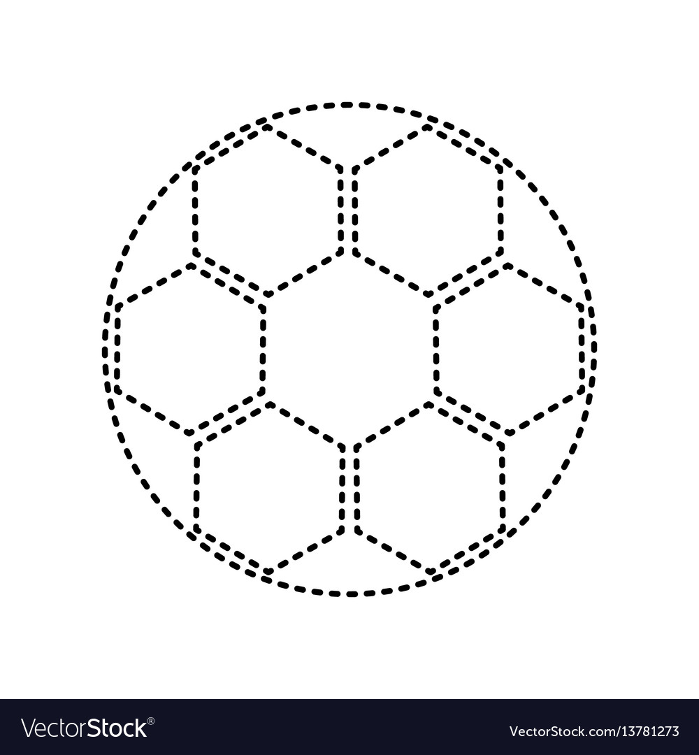 Soccer ball sign black dashed icon on vector image