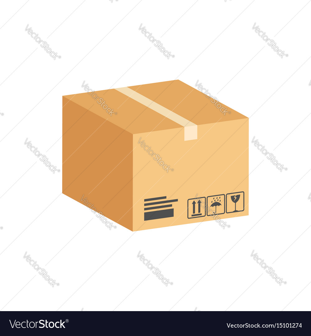 Cardboard box parcel symbol flat isometric icon vector image