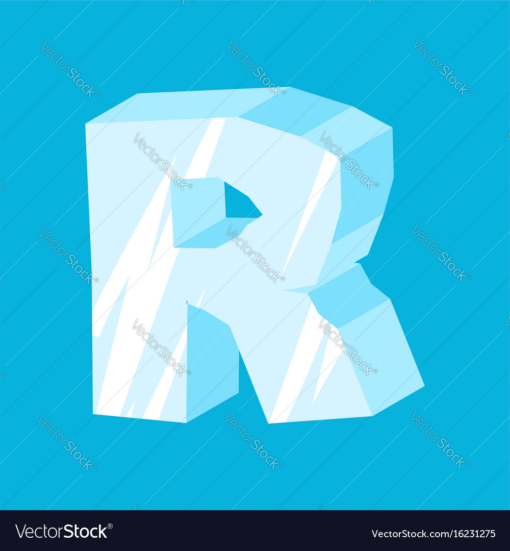 Letter r ice font icicles alphabet freeze vector image