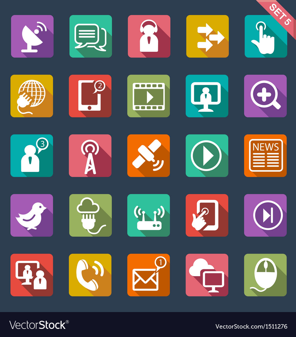 Communication icons- flat design vector image