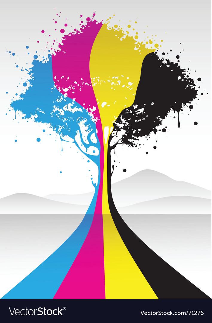 CMYK tree vector image