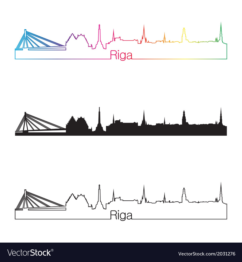 Riga skyline linear style with rainbow vector image
