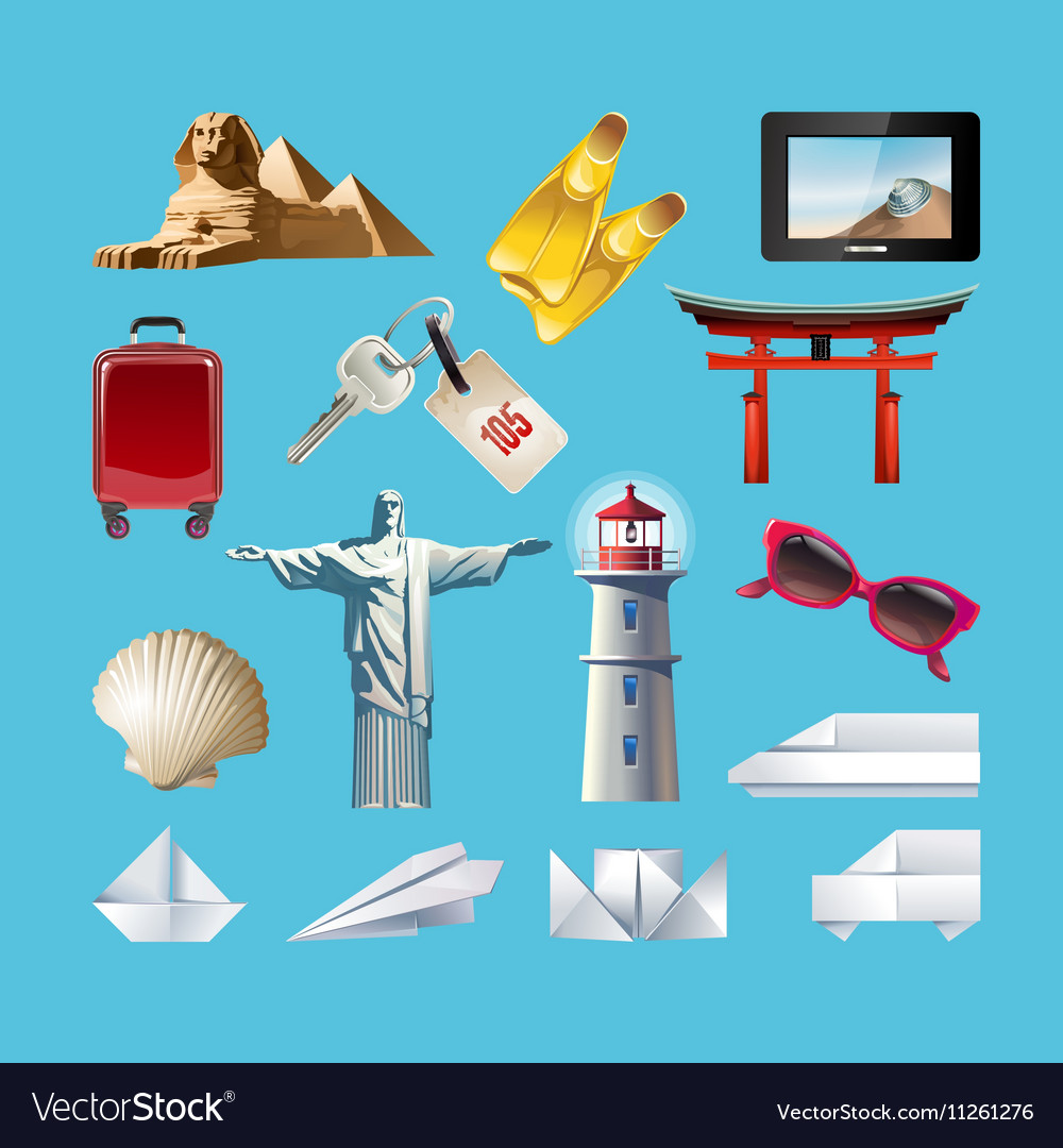 Set of icons related to journey vector image