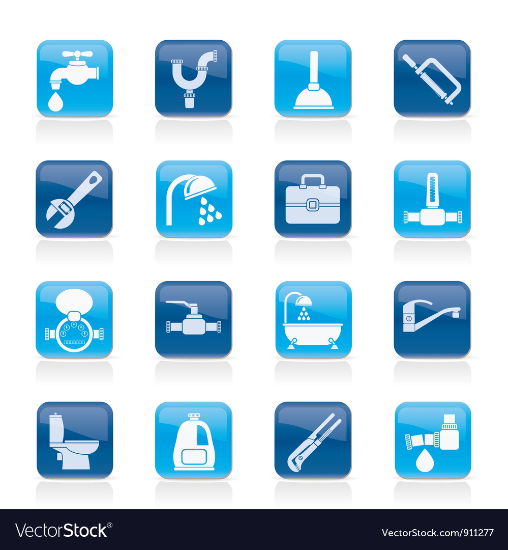 Plumbing objects and tools icons vector image
