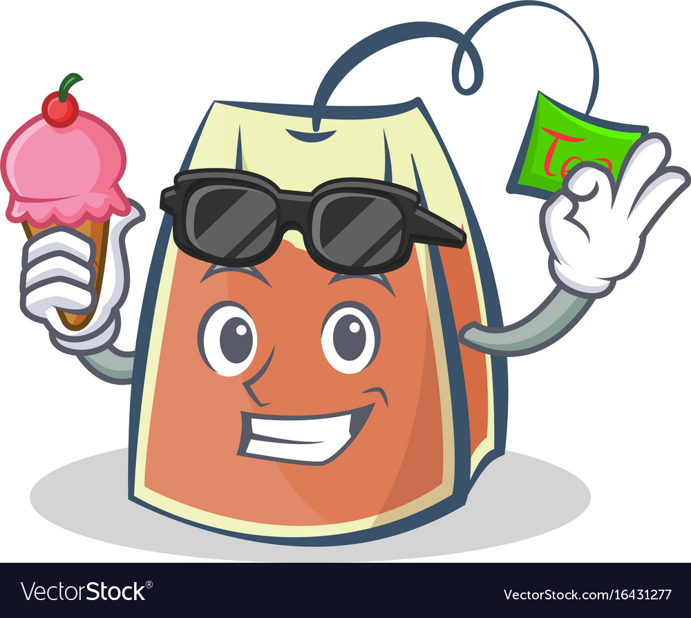 Tea bag character cartoon with ice cream vector image