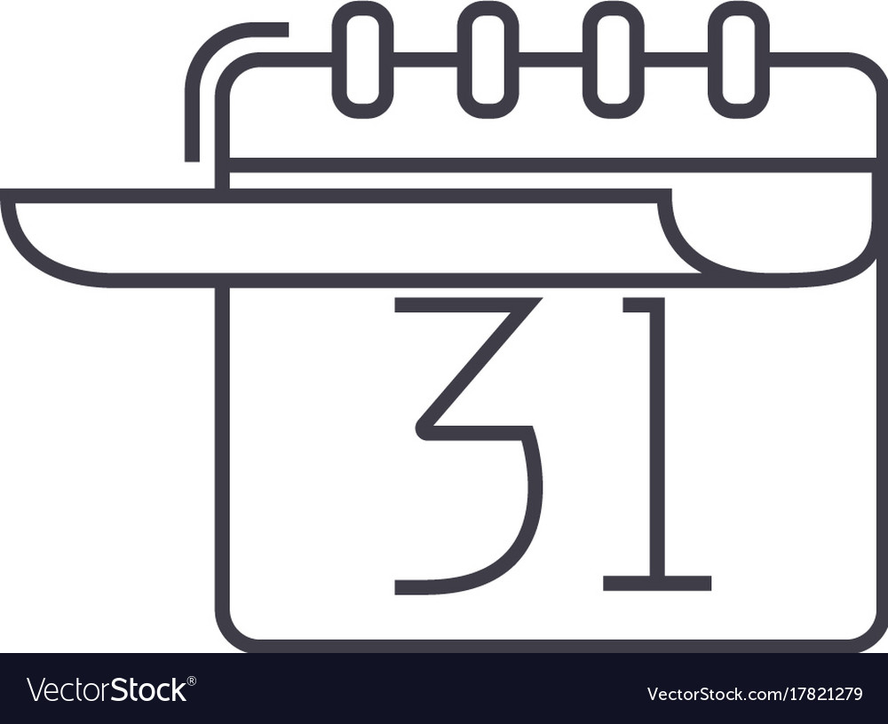 Calendar with list line icon sign vector image