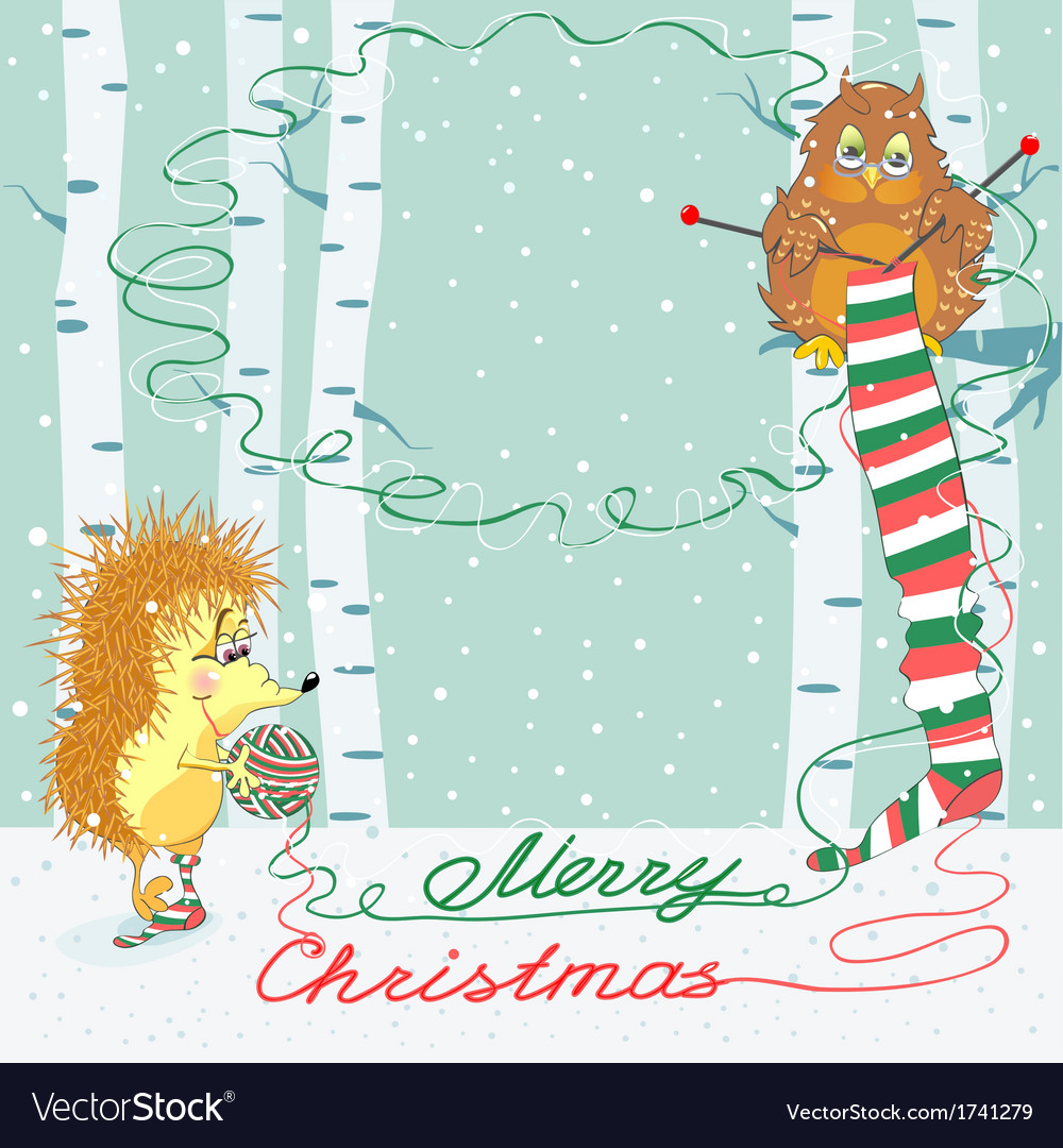 Christmas card with an owl and hedgehog vector image