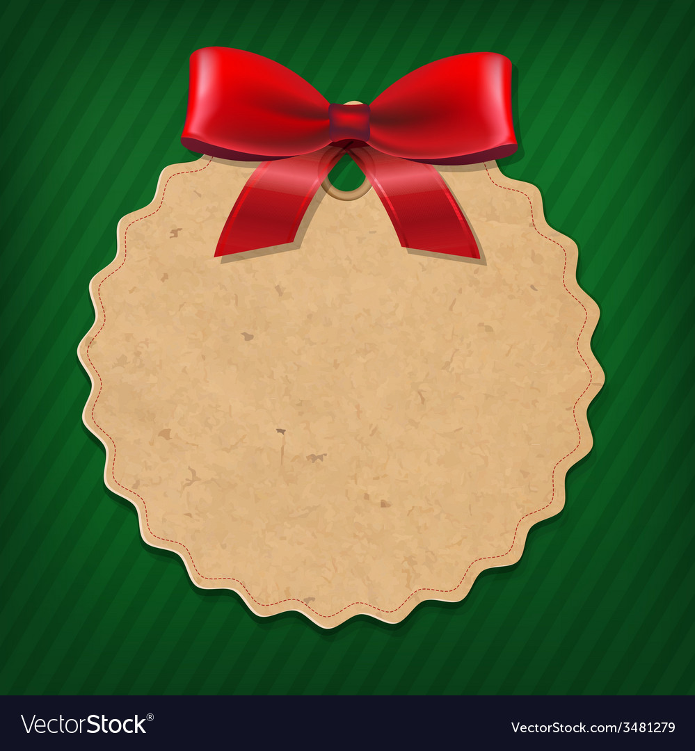 Xmas Label With Red Ribbon vector image