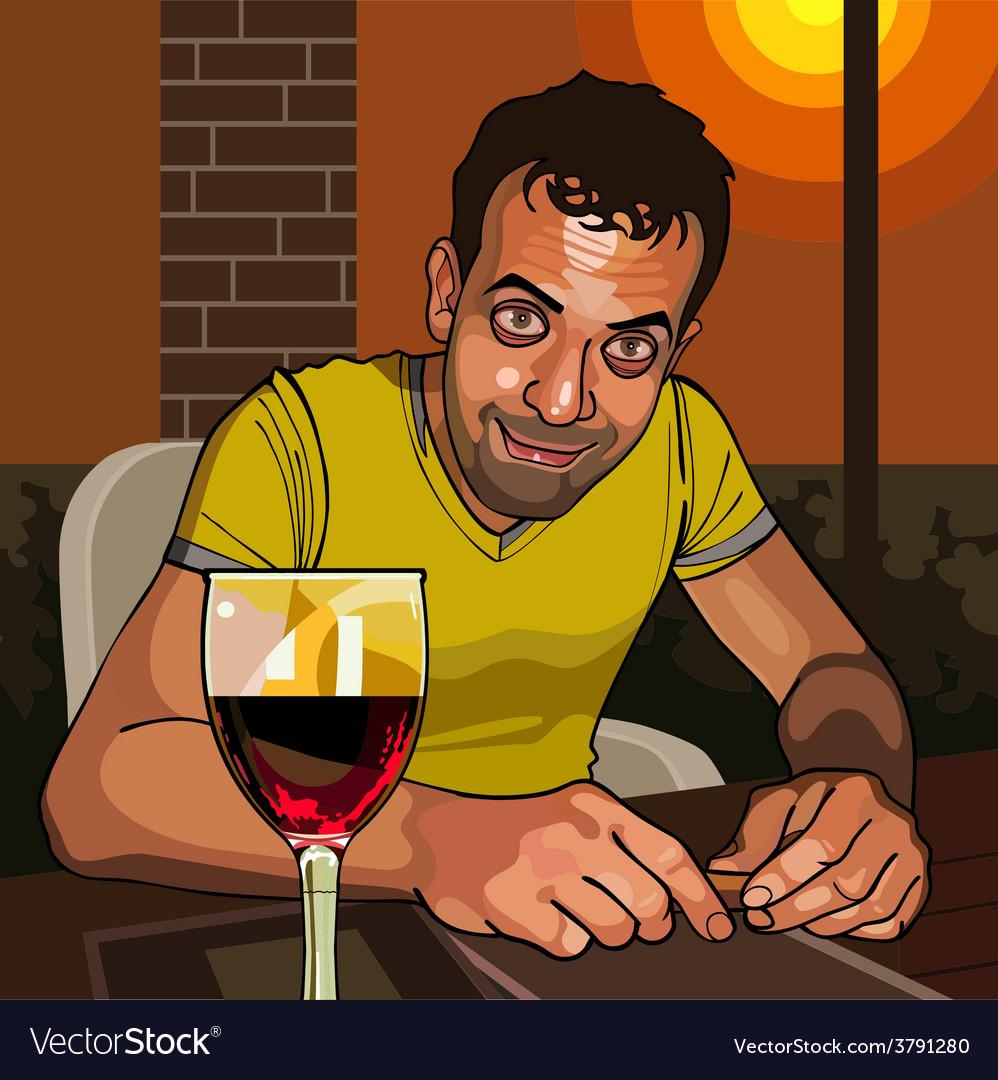 Cartoon smiling man sitting at a table vector image