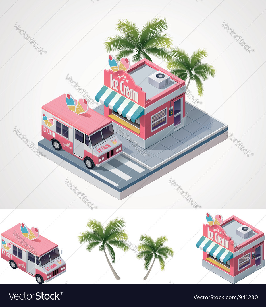 Isometric ice cream store and truck vector image