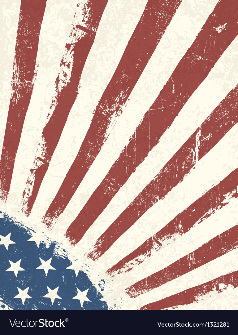Grunge american flag background vertical vector image