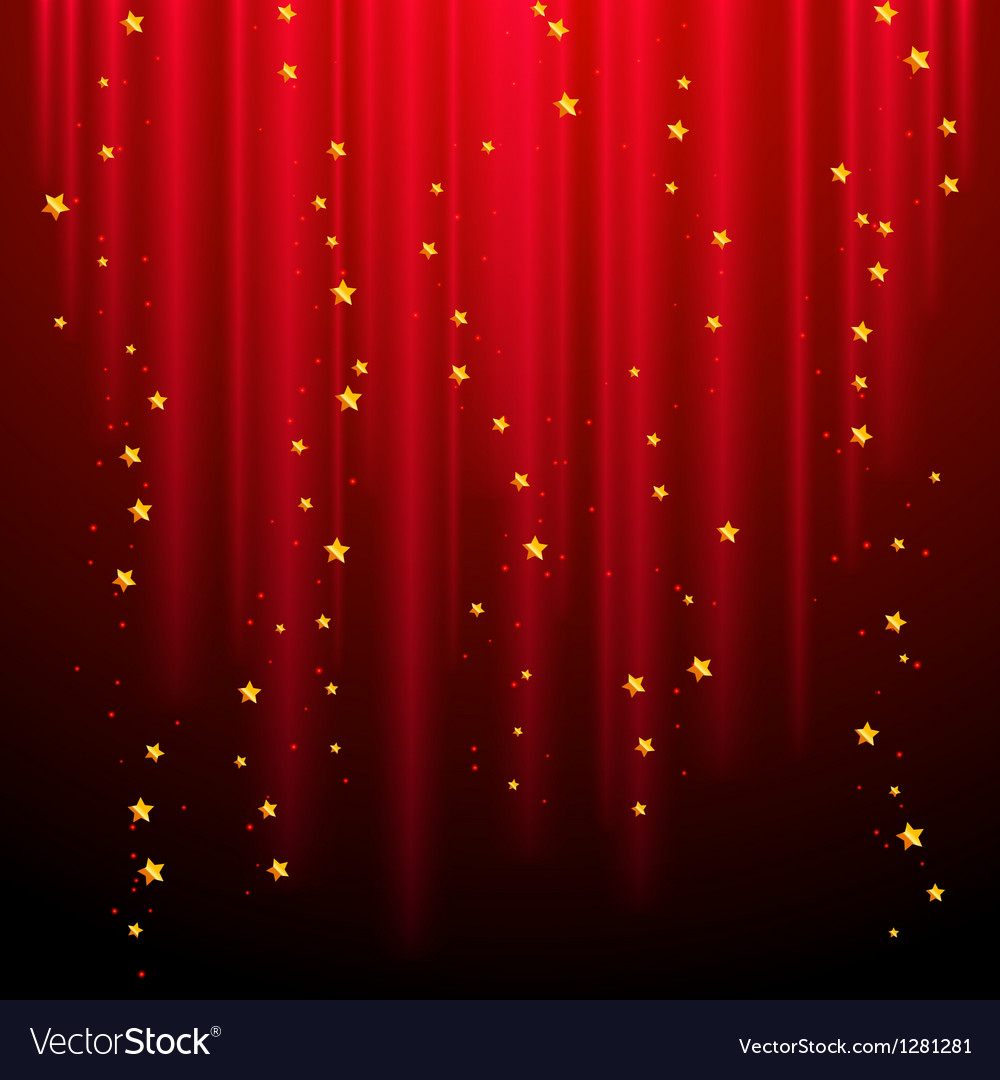 Abstract red background with shooting stars vector image