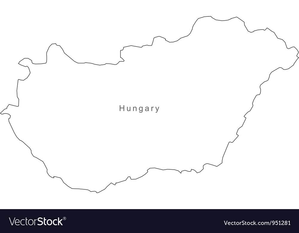Black White Hungary Outline Map Royalty Free Vector Image - Hungary blank map