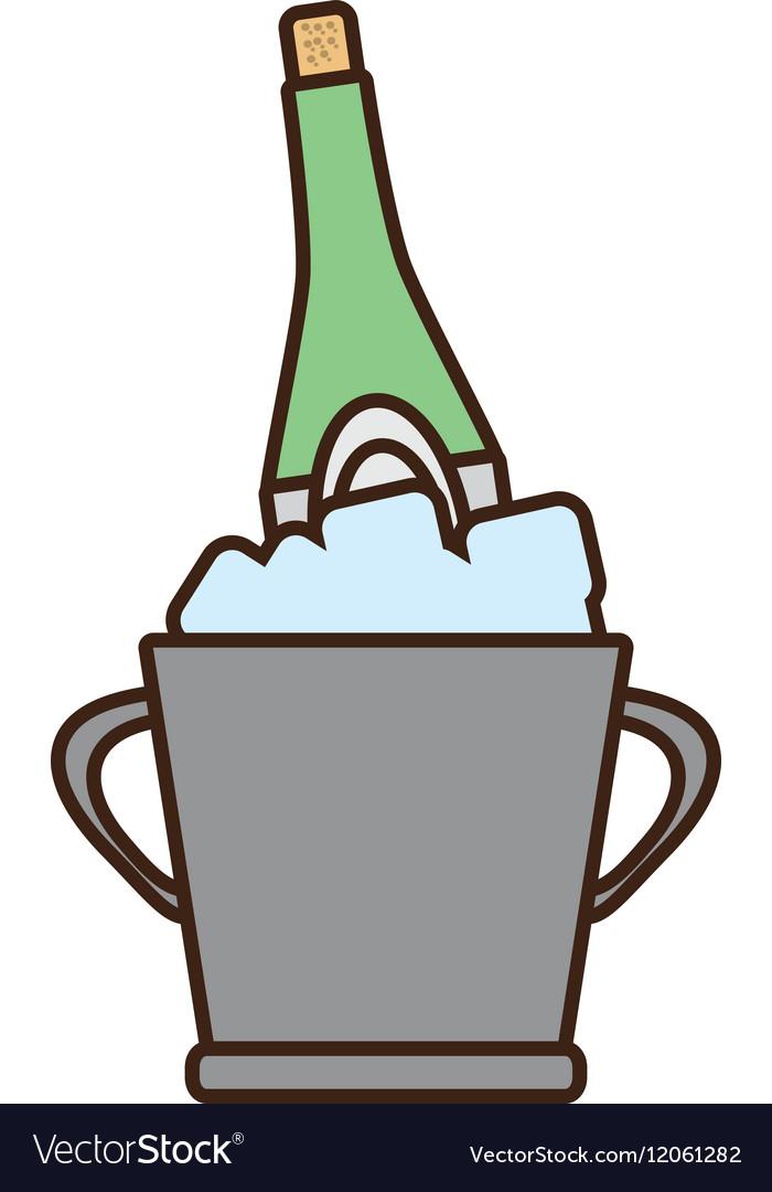 Cartoon champagne bucket bottle ice design vector image