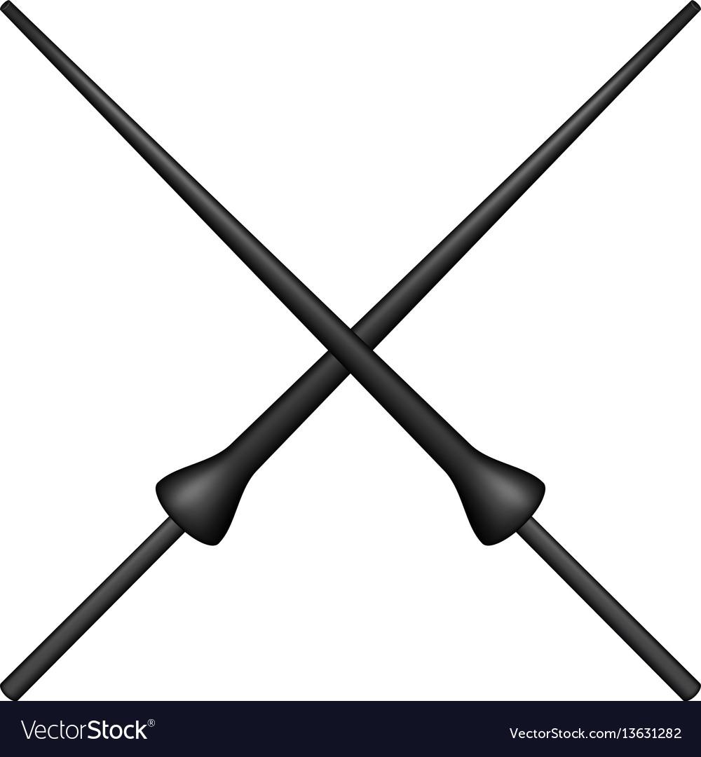 Two crossed lances in black design vector image