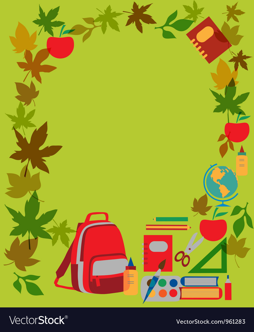 Back to school School supplies on green vector image