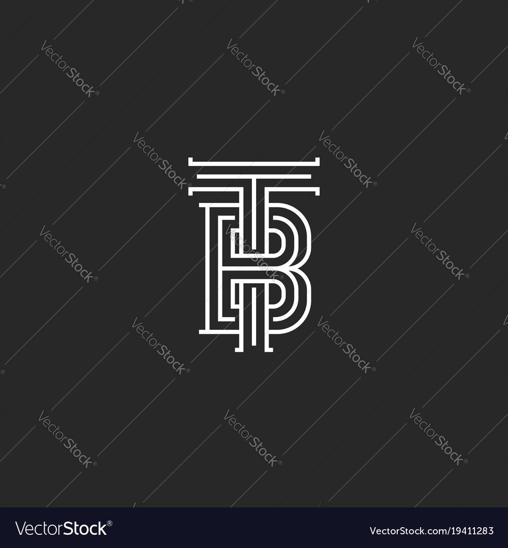elegant logo tb letters initials monogram vector image