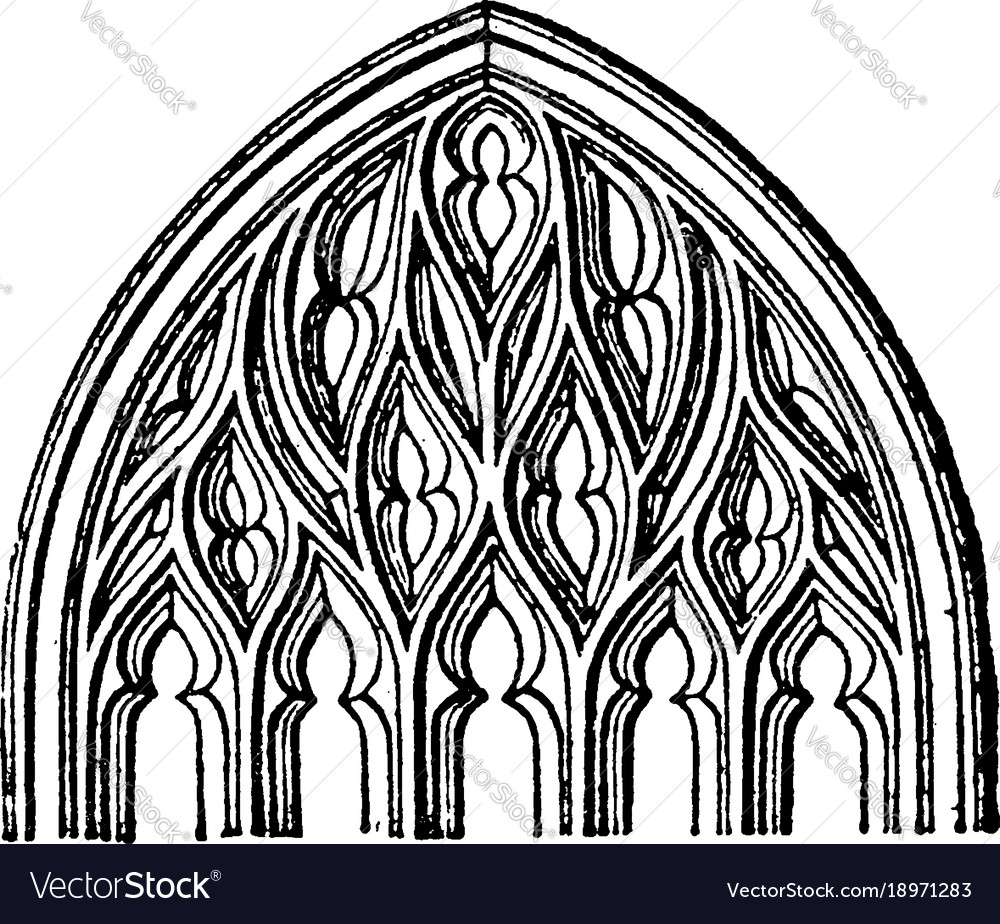 Flamboyant Tracery Gothic Architecture Vintage Vector Image