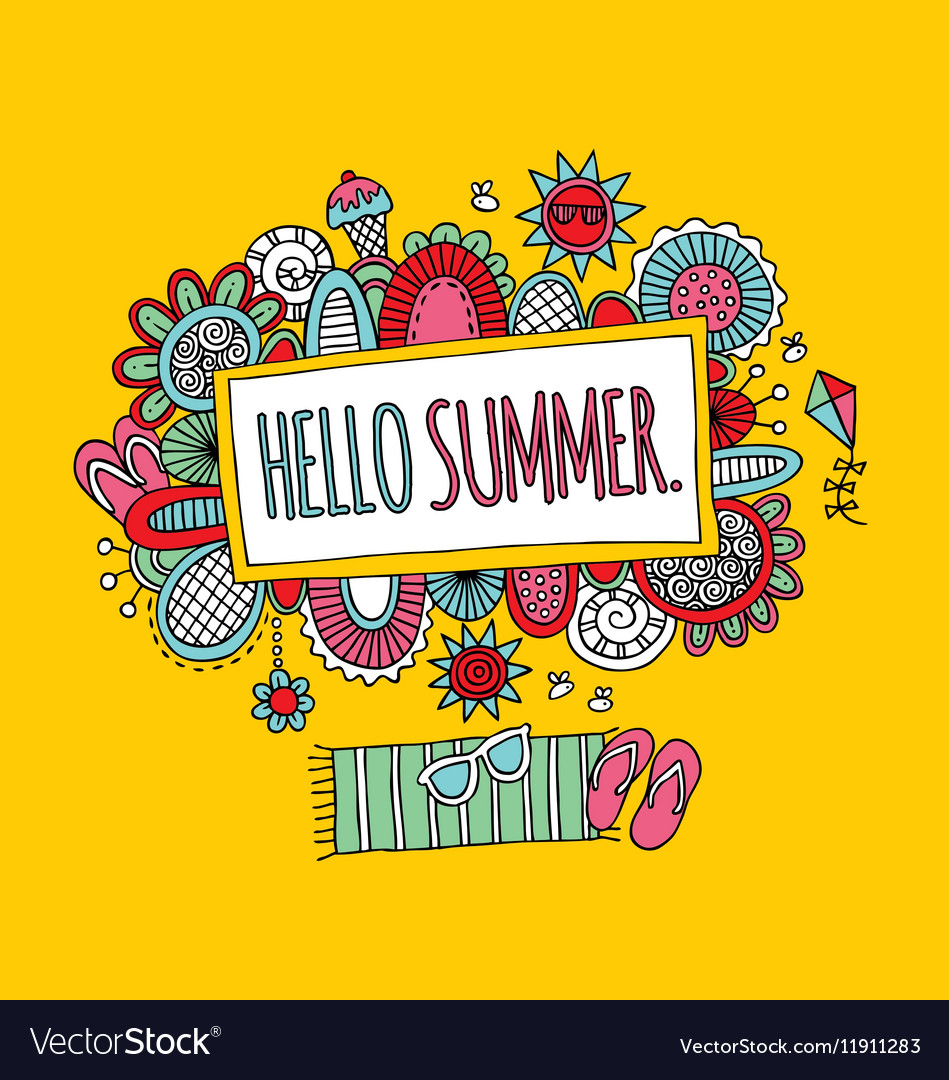 Hello Summer Hand Drawn Doodle Yellow vector image
