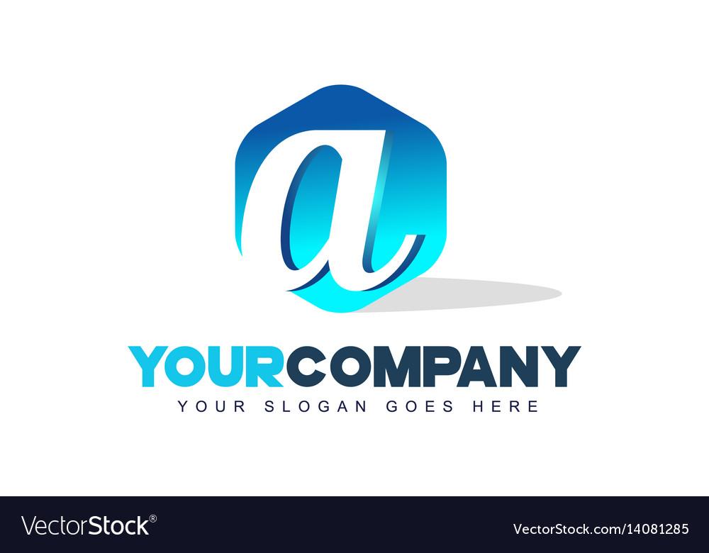 A letter logo hexagon shape modern design vector image