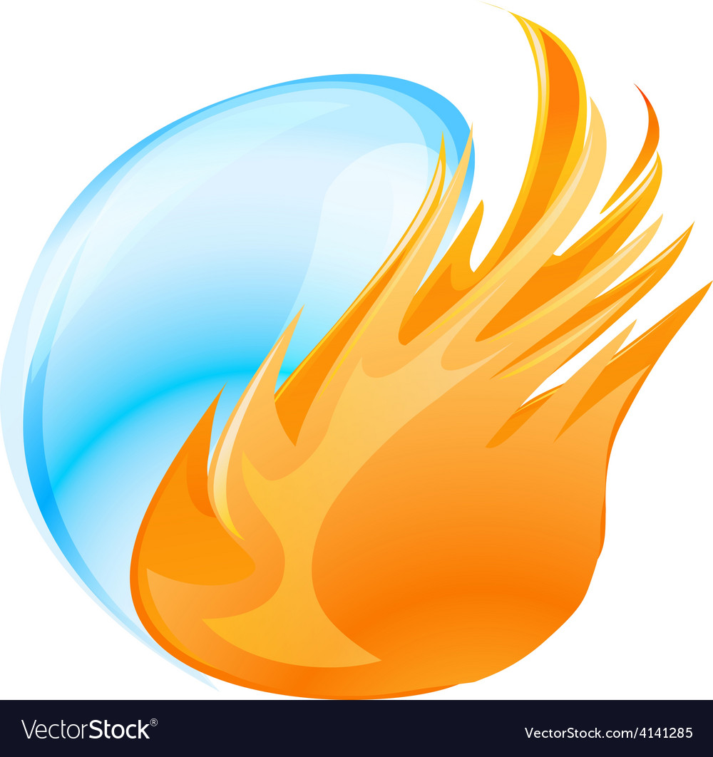 Fire water symbol vector image